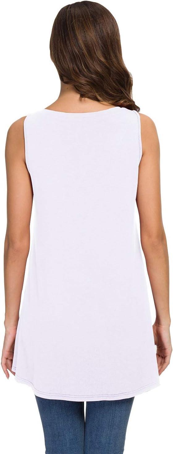 . Awuliffan Womens Summer Sleeveless V-Neck T-Shirt Tunic Tops Blouse Shirts