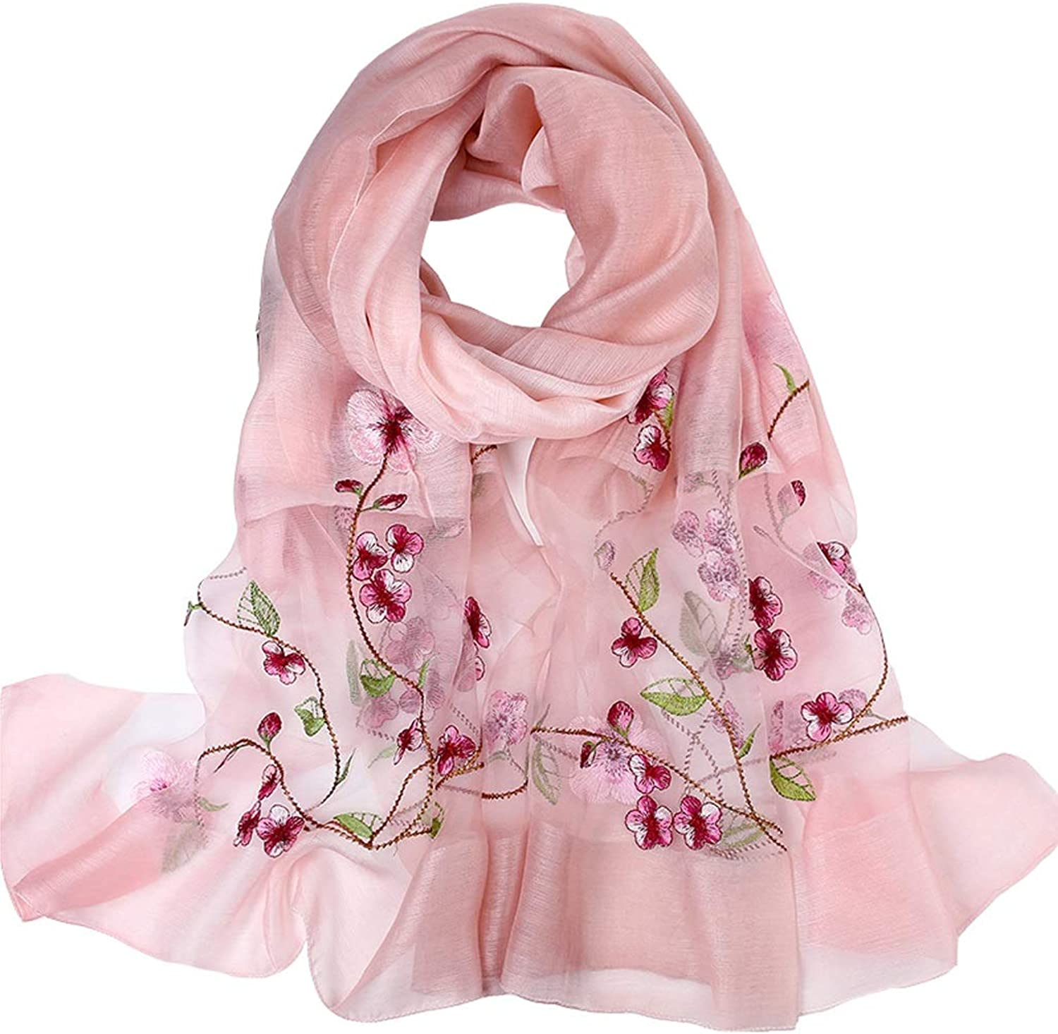 UltraThin Lady Women Fashion Silk Scarf Hangzhou Long Soft Embroidery Shawl Sarong Wrap Female Lightweight Scarves Luxury Gifts (color   Pink)