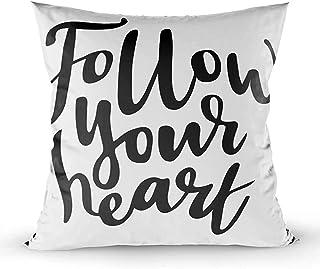 Ducan Lincoln Pillow Case 2PC 18X18,Fundas De Almohada,Fundas De Funda De Almohada Cuadradas SIGA Su Corazón Aislado Frase De Motivación Romántica Amor Día Cepillo Caligrafía,Marfil Naranja