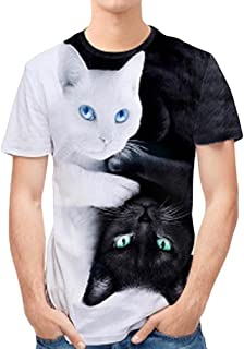 Personality Mens Shirt 3D Print Double Cat Casual Tops Slim Short-Sleeved