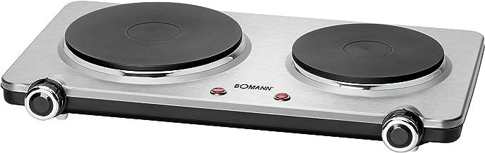 Bomann DKP 5033 E CB roestvrijstalen dubbele kookplaat, 2 kookplaten (1x Ø ca. 180 mm, 1500 W, 1x Ø ca. 150 mm, 1000 W), r...