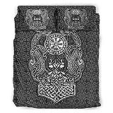Lind88 Wikinger-Bettwäsche-Set, Odin Dragon, Bettbezug & Kissenbezüge, Tagesdecke, weich, leicht zu waschen, 228 x 264 cm, Weiß, 4-teilig