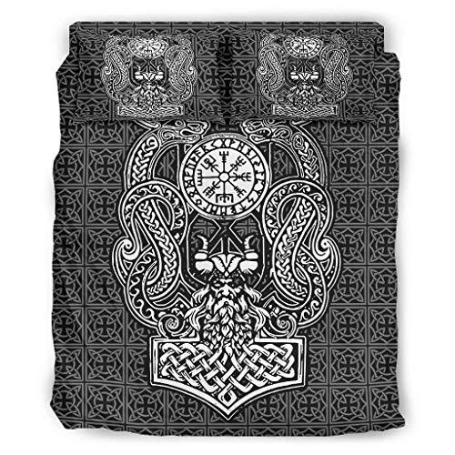Viking Odin Dragon O3XEQ-8, set di 4 copripiumini e federe per cuscino, morbido e facile da lavare, colore bianco, 240 x 264 cm