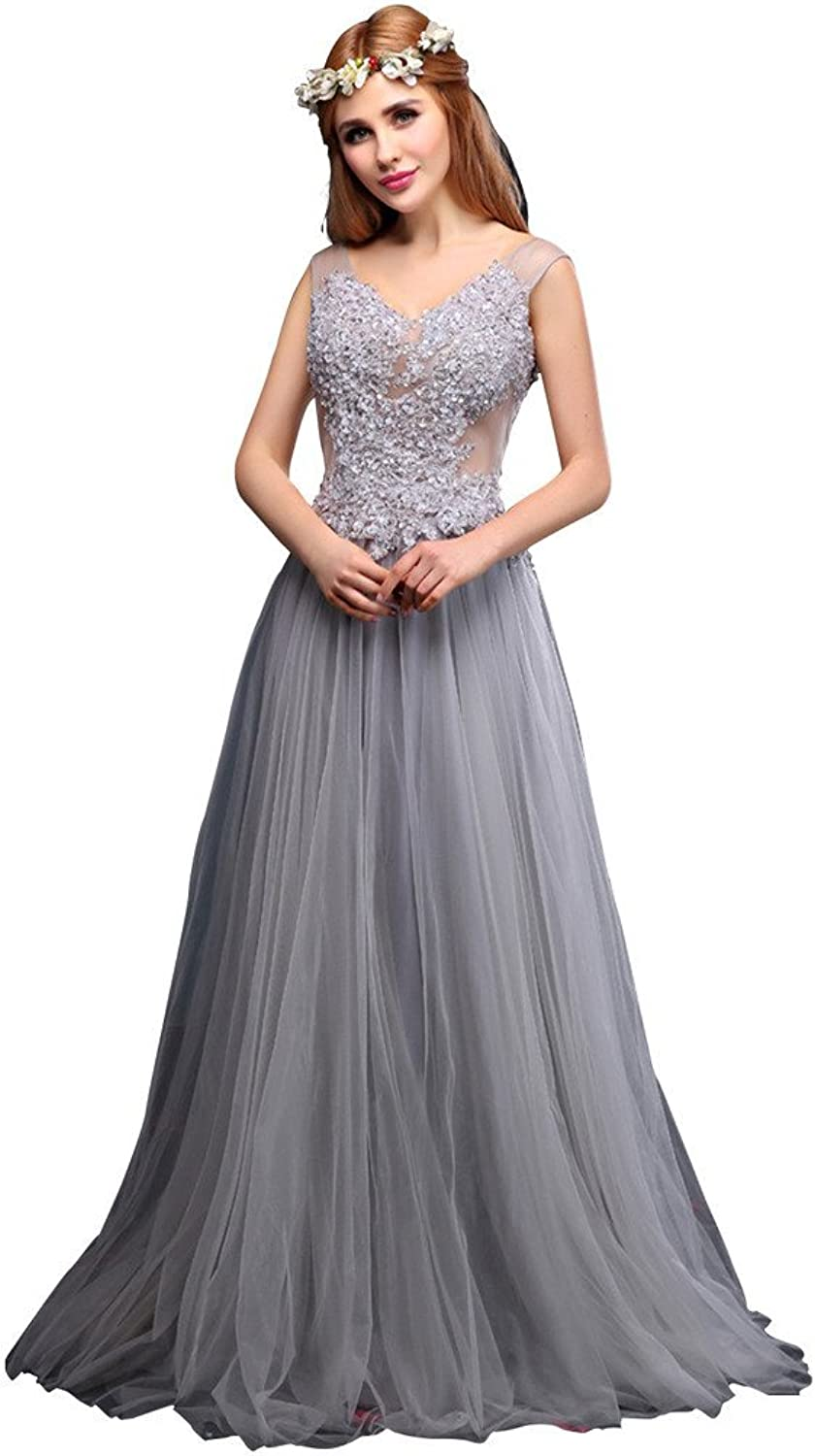 BessWedding Women's Long Backless Tulle Lace Cap Sleeve Princess Bridal Gowns