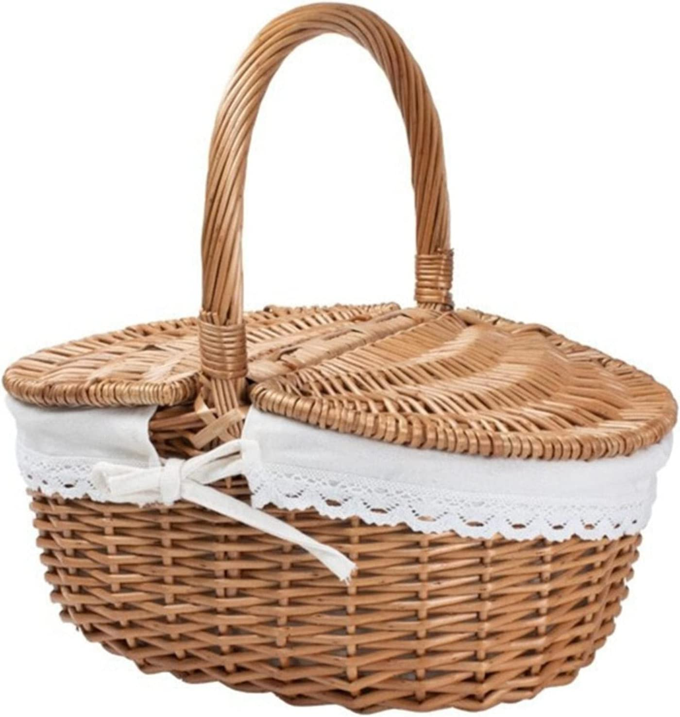 KLSAMNM Picnic Basket Max Choice 52% OFF Wood Design Handle Lid and Stu with