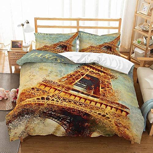 Aolomp 3D bedding set home textiles 2/3pcs Retro Eiffel Tower Printing Duvet Cover Set and Pillowcase 220cm*240cm