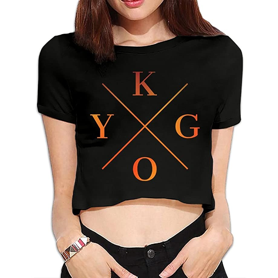 Gtaiquxin Kygo Women's Midriff-Baring Short Sleeve T Shirt Black