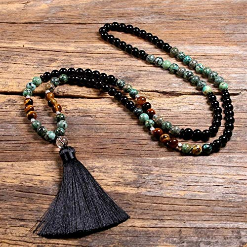 NBKLSD Natural Tiger Eye's Stone 108 Japa Mala Beads Collares para Las Mujeres Niñas Yoga Tassel Collar Largo Joyería de los Hombres 8mm