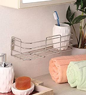 Adbucks Omic Silver Stainless Steel Multi Purpose Bathroom Rack- 4 X 12 Inches