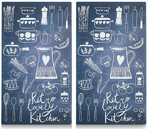 Best-Accessoires4All 2X Vetro herdabdeckplatte herdabdeckung Tagliere Piastra di Copertura per Piano Cottura a induzione Design Retro Lovely Kitchen