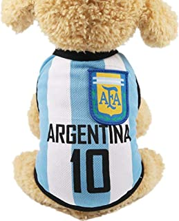 Pet Clothes Football T-shirt Dogs Cats Costume National Soccer World Cup FIFA Jersey for Pet Argentina-M Size