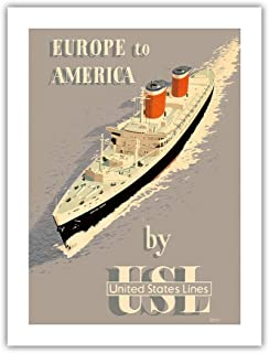 Europe to America - by United States Lines - S.S. United States Ocean Liner - Vintage Ocean Liner Travel Poster by John S. Smithc.1955 - Premium 290gsm Giclée Art Print - 18in x 24in