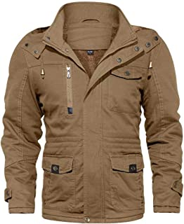 KEFITEVD Mens Outdoor Jackets Winter Parka Military Coat with Removable Hood Cargo Jacket