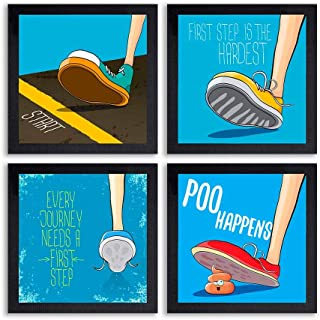 PnF® Set of 4 Motivational QUOTES-020-(28x28inch,Synthetic,Multicolour)