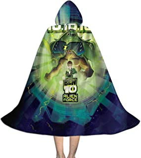 Unisex-Child Halloween Cloak Handsome 10 Ben Full Length Hooded Cape Girls Boys Magic Costumes For Christmas Party Cosplay