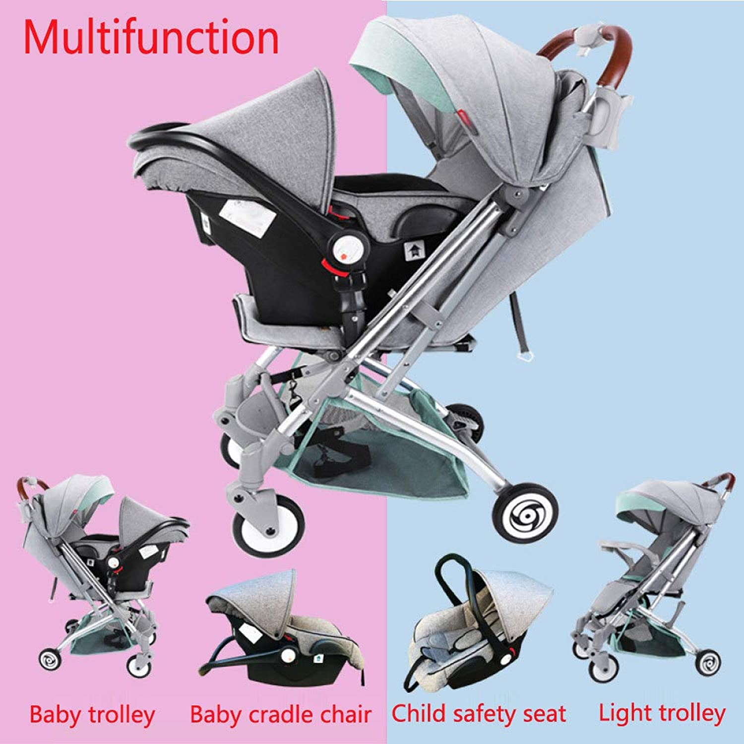RAQ Baby strollers Basket Aluminum alloy ultralightweight folding can sit can lie high landscape umbrella baby trolley (color   B)
