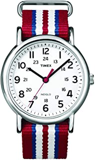 Unisex T2N746 Weekender Slip Thru Red, White & Blue Stripe Nylon Strap Watch