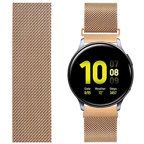 AVOD Compatible with TicWatch Pro/Asus Vivowatch/LG W 150/ZENWATCH, 22mm Stainless Steel Magnetic Mesh Watch Band Quick Release for Galaxy Watch 46mm,Gear S3 Frontier/Classic Women Men(Rose Gold,22mm)