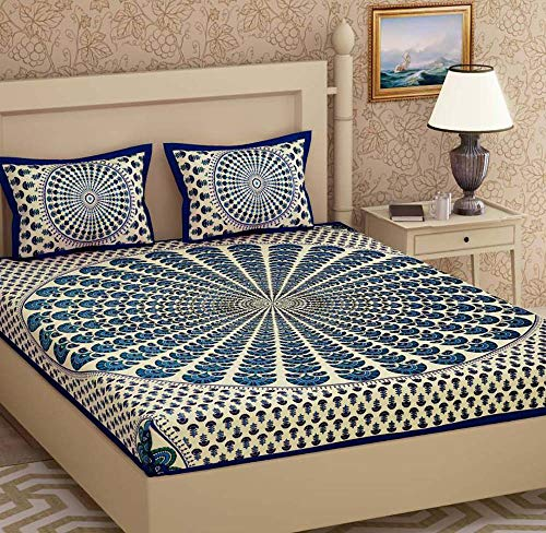 Attraction place Traditional Indian Cotton Printed King Size Double Bed Sheet with 2 Pillow Covers FC-45