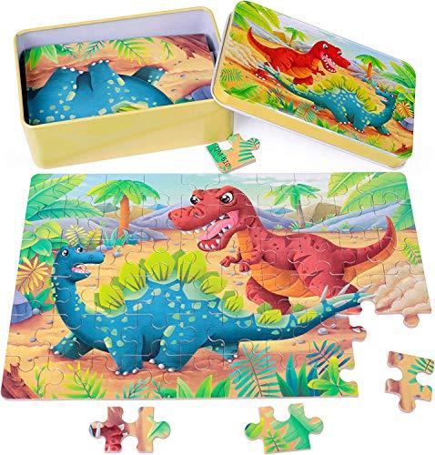 Rolimate houten puzzels voor kinderen 60 stukjes 3 4 5 jaar jongens meisjes, Montessori dieren Kleurrijke houten puzzels voor peuters kinderen leren educatief puzzelspeelgoed met metalen puzzeldoos