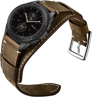 Ayigo Compatible with Samsung Galaxy Watch 46mm/Gear S3 Frontier/Classic Bands, 22mm Classic Genuine Leather Cuff Bracelet Replacement Strap with Stainless Steel Buckle for Men Women (Coffe)