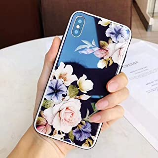 Maxlight Luxury Flower Glass Hard Back Cover Case for iPhone Xs Max XR Floral Phone Case for iPhone X 7 8 Plus Cases Coque (Black, for iPhone 7plus 8plus)
