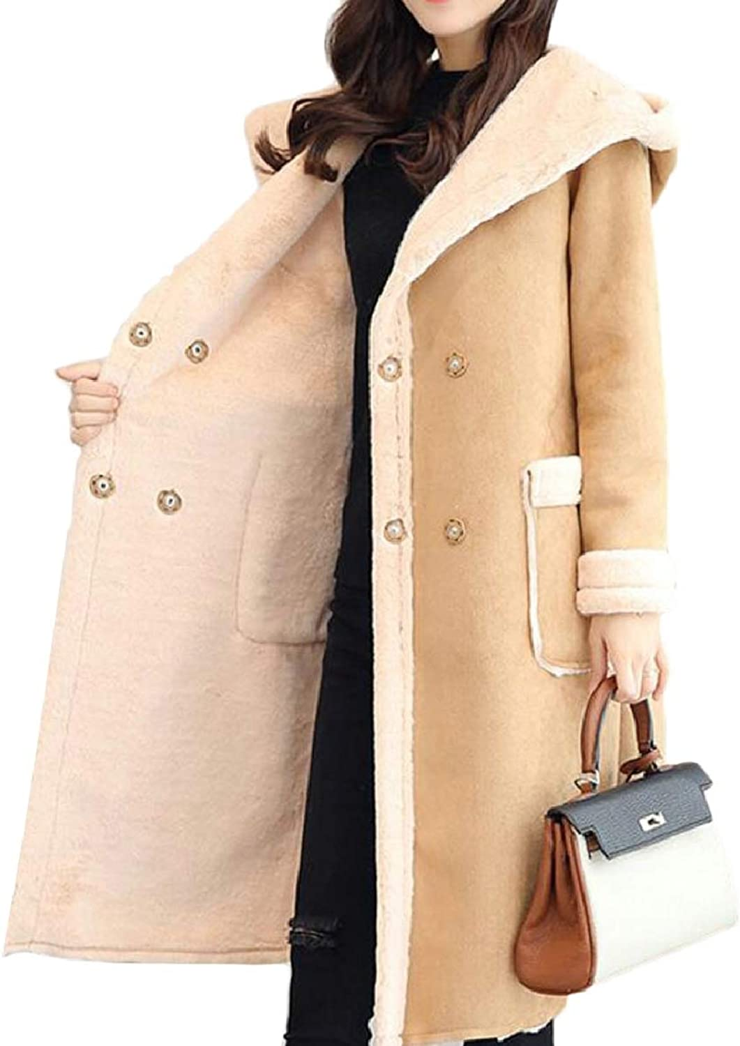 CBTLVSN Womens Comfy Warm Thicken Hoodie Faux Long Suede Lamb Wool Jacket
