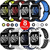 ElaikementSport Band Compatible for Watch Bands 42mm 44mm Women Men, Breathable Sporty Replacement Wrist Strap Compatible for Watch Band Series 5/4/3/2/1 All Various Styles, 42/44mm M/L-8PACK