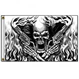 Daywalker Bikestuff Biker Fahne Skull Flammen Revolver Airbrushdesign Flames Feuer