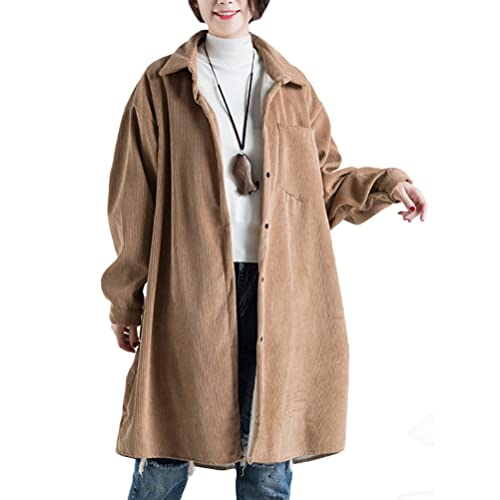 88e33a4076589 Vogstyle Women s Plus Size Fleece Inner Vintage Corduroy Coat