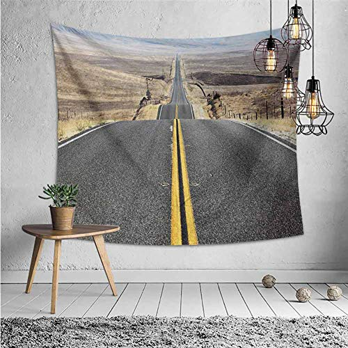 jecycleus Landscape Grateful Dead Tapestry Pacific Coast Highway on The Road Trip to Endless Desert Western Photograph Wilderness Wall Decor for Bedroom Tapestry W70 x L70 Inch Grey
