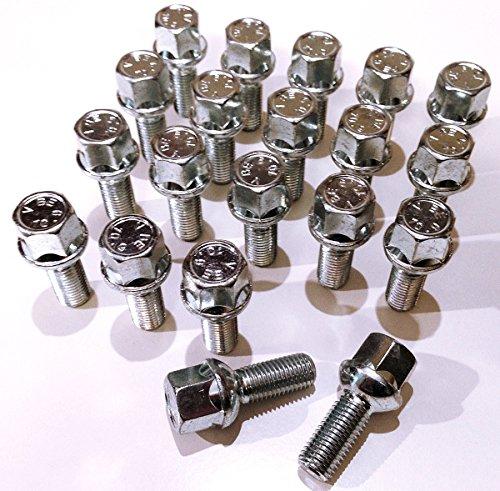 Lot de 20 boulons de roue en alliage zingué M12 x 1,5 (M12 x 1,5) à tête hexagonale 17 mm Longueur du filetage 26 mm (AU001)