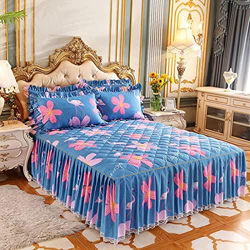CYYyang Protector de colchón, algodón, poliéster, Falda de Cama Individual de Sarga gruesa-21_120 * 200cm