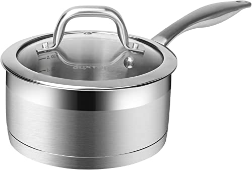 popular Duxtop discount Professional Stainless Steel Sauce Pan with Lid, Kitchen high quality Cookware, Induction Pot with Impact-bonded Base Technology, 2.5 Quart outlet sale