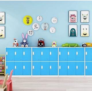 Casillero colorido para niños, Casillero pequeño para la escuela, gabinete bajo, gabinete con casillero de 6 puertas, gabinete con gabinete para guardar juguetes