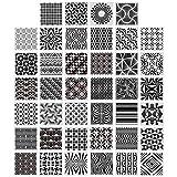 40 Pezzi Stencil Geometrici Modelli di Pittura per Scrapbooking Mobili Cookie Piastrelle Decorazione Pavimento Parete Disegno Artigianale Forniture Artistiche Tracciare, 5,1 x 5,1 Pollici
