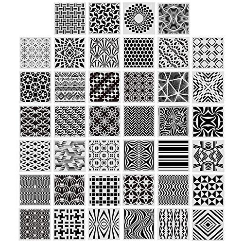 40 Piezas Plantillas Geométricas de Pintura para Suministros Arte Bricolaje Rastreo Dibujo Decoración Piso Pared Mueble Azulejo de Galleta Scrapbooking, 5,1 x 5,1 Pulgadas