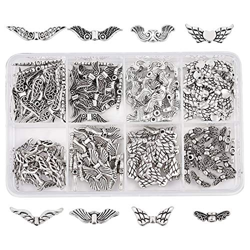 PandaHall Elite 160 Stück Tibetanische Flügel Spacer Perlen Antik Silber für DIY Schmuck