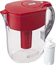 Brita Grand Water Filter Pitcher, with 1 Standard Filter, Red, 10 Cup