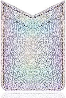 LUXMO PREMIUM Card Holder for Back of Phone, V-Shape Slim Self Adhesive Stick on Credit Card Wallet Card Holder Phone Pocket Sleeves (Silver)