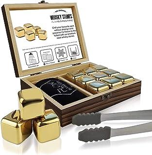 FLOW Barware Whisky-Steine, Geschenk-Set mit Eiszange und Aufbewahrungstasche, wiederverwendbare Eiswürfel aus Metall, verhindert Verdünnung von Whisky, Rum, Brandy, Wein und Gin Getränken gold