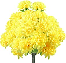 XYXCMOR 2 Pack 18 Heads Artificial Fake Mums Silk Autume Flowers Bouquet Arrangements Home Garden Dining Table Windowsill Wedding Christmas Party Cemetery Centerpiece Decor Yellow