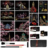 Scratch & Sketch Art Paper(A4) for Kids & Adults, Rainbow Painting Night View Scratchboard, Engraving Art Craft Set: 12 Sheets Scratch Cards & Scratch Drawing Tools (Fireworks / Sakura / Street View)