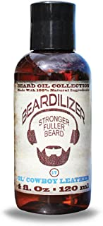 Beardilizer ® Beard Oil Collection - #17 Ol' Cowboy Leather 4 Oz - Made with 100% Natural Ingredients