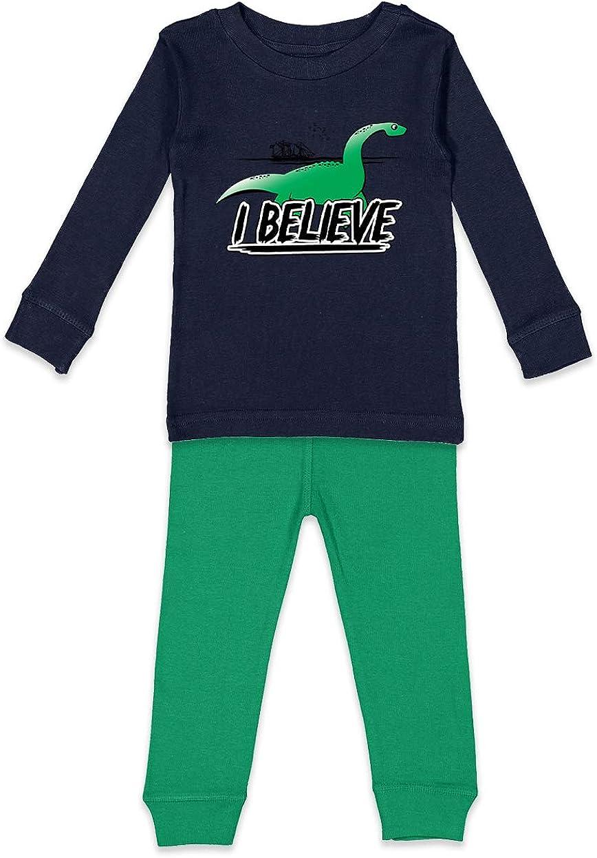 Tcombo I Believe Loch Ness Monster - Myth Youth Pajama Set (Navy Blue Top/Kelly Bottoms, Youth 8)