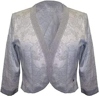 Salvatore Ferragamo NWT Silver White Floral Long Sleeve Cotton Bolero Sweater