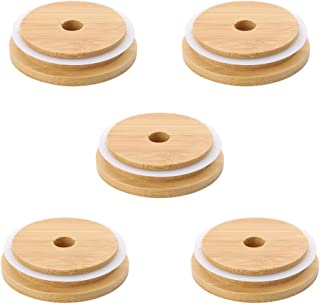 PLENTOP Dustproof &Durable Canning Lids with Wood Airtight Silicone Mason Jar Lids with Wood Silicone Airtight Lids (C)