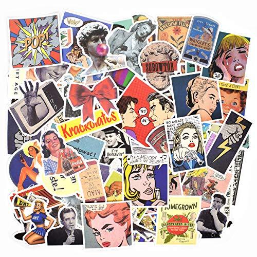 100 PCS - Adesivi Valigia, Retro Vintage Stickers per Valigia, Chitarra, PC Portatili, Auto Moto, Skateboard, Snowboard (Retro vintage)