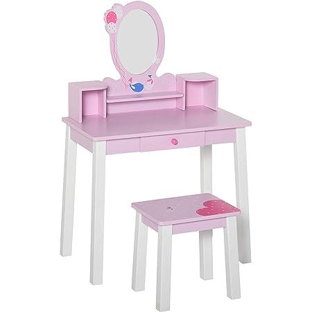 HOMCOM Tocador Infantil con Taburete y Espejo Tipo Princesa Mesita de Maquillaje de Madera Rosa Juguete para Niñas 60x34x93 cm