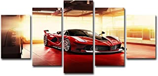 SHOMPE Framed Canvas Wall Art Pictures Ready to Hang 5 Panels Red Sports Cars Painting HD Printed Poster Artwork for Bedroom Living Room Modern Home Decorations